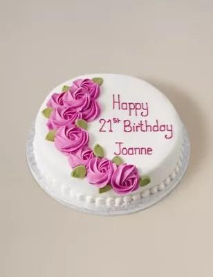 Piped Rose Pink Round Sponge Cake Serves 32 M Amp S