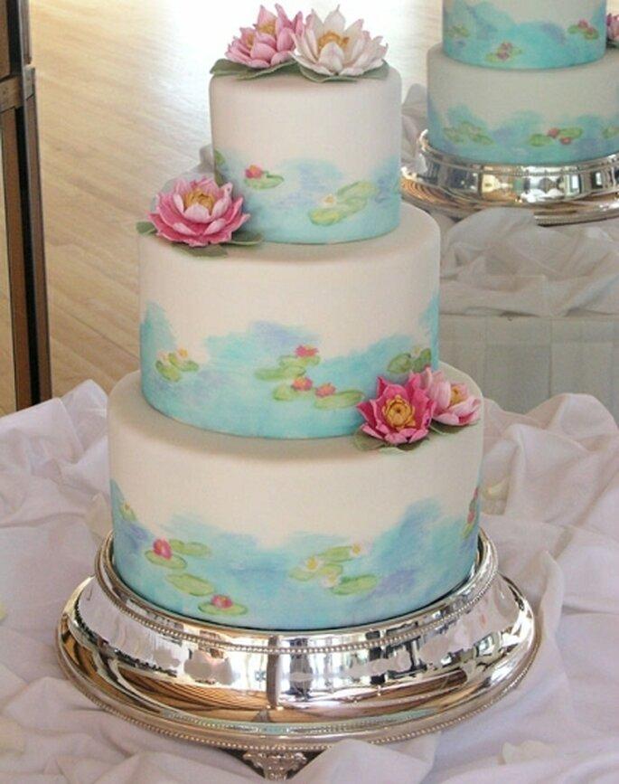 Monet Inspired Cake Lotus Flower Made From Gumpaste