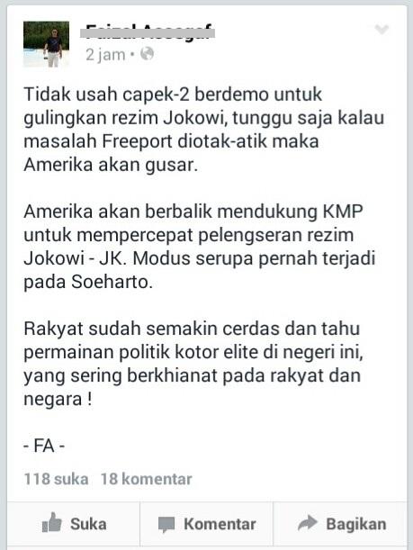 Menunggu Freeport Jatuhkan Jokowi