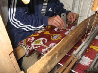 Velvet ikat weaving in Uzbekistan.