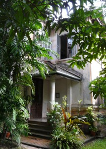 The restored French Colonial building--home to Carol Cassidy textiles.