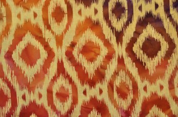 "A printed ""warp ikat"" fabric from India."