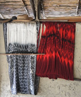 These ikat shawls are ready for finishing with a traditional knotted fringe.