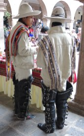 Two men from Santo Tomas in the Peruvian Highlands dressed in their traditional garb.