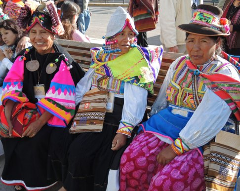 The weavers from Centro Mallki-Moquegua, in the southern highlands of Peru, wore the most colorfully-ornamented dress.