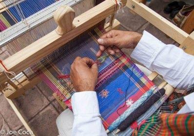 Adding weft-weaving in an arrow-like pattern.