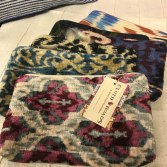 Great gift ideas. This collection of small bags features ikat from Uzbekistan.