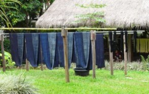 Indigo-dyed, batiked hemp cloth from Laos artisans.
