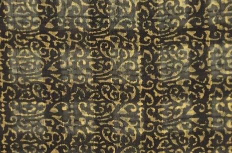 Window-pane silk with scroll woodblock printed pattern.