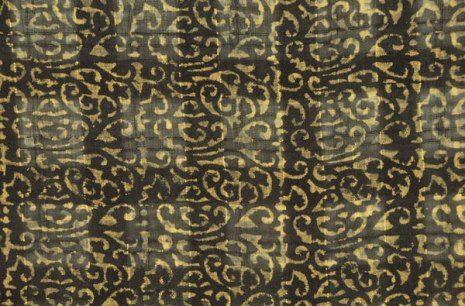 Window-pane silk with scroll woodblock printed pattern.