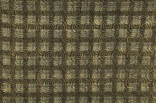 Spiral pattern printed on top of handwoven window-pane plaid.