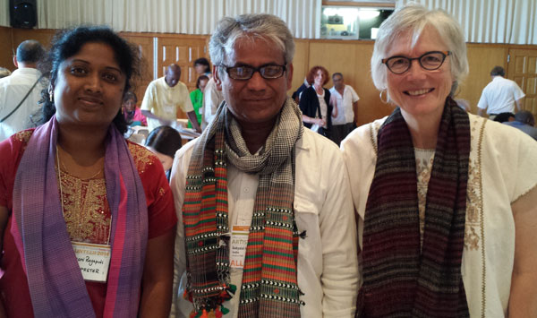 Translator Kalyani Rayapudi, Weaver Dayalal Kudecha (Dahyabhai), Mentor Marilyn Murphy. We're all wearing Dahyabhai's shawls.