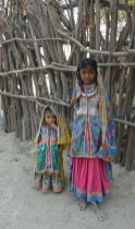 Young Banni girls wearing their everyday traditional dress in Kutch, India.