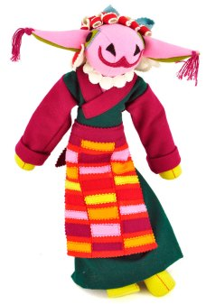 "A ""mother sheep"" with clothing modeled after traditional dress."
