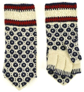 "Modern style of ""mitts"": handknit gloves with mitten covering."