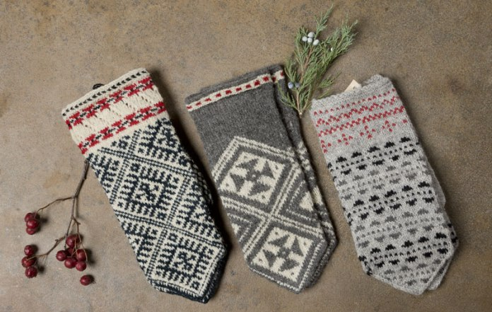 Estonian mittens showing a range of knit patterns.