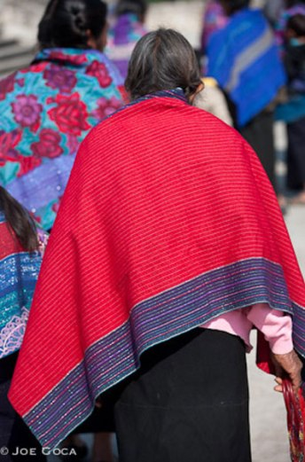 The older handwoven shawls have simple striping, but variation in stripe colors were modified each year.