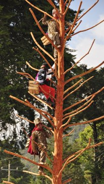 Two jaguar men and the black-faced trickster climbing the jaguar tree.