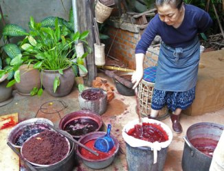 Stirring the lac dye pots in Laos