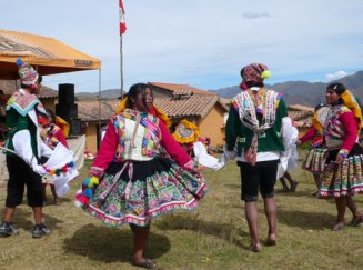 Dancing during an anniversary celebration in Sallac, Peru.