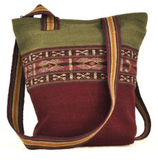 A naturally-dyed and handwoven bag from Patabamba, Peru, using cochineal dyed yarn in lower half.