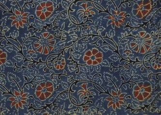 Woodblock printed, naturally dyed Ajrakh cotton fabric.