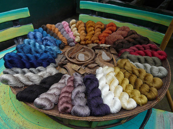 An array of naturally-dyed silk skeins in Laos.