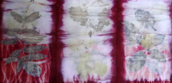 The soft red of lac in an eco-dyed sample by Judy Newland.