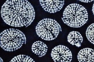 Indigo-dyed shibori fabric from Japan.