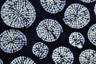 Indigo-dyed shibori fabric from Japan.
