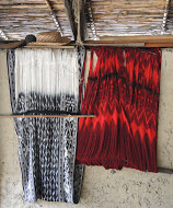 The traditional Ecuadorian ikat shawl, known as the macana, are handwoven using natural dyes in the artisanal workshop of José Jiménez.