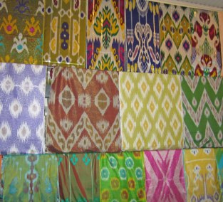 A wide range of ikat fabric is available at local markets in Uzbekistan.