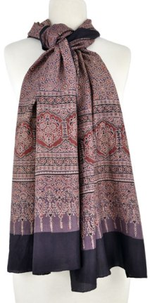 Block-printed Ajrakh wrap. The red is from alizarin madder.
