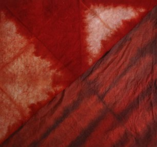 Madder-dyed sample fabrics, dyed in Rubia cordifolia.