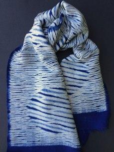 Shibori scarf blank with twill circle design.