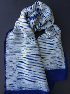 Shibori scarf blank with twill circle design.