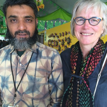 Aziz and Marilyn at Folk Art Market 2015. Aziz is wearing a shibori-dyed shirt and I am wearing one of his innovative bandhani scarves.