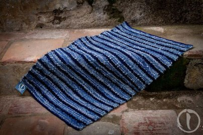 A recycled blue jeans rag rug.