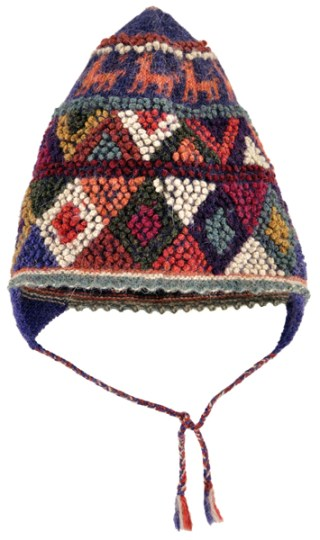 A colorful, textured pattern is created by q'urpu in this traditional handknit hat.
