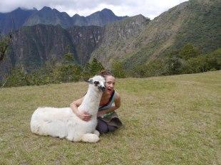 Bonie Shupe with her new friend in Peru.