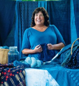 Donna Hardy surrounded with indigo-dyed products from the Sea Island indigo. Photo credit: Ruta Elvikyte, courtesy of charlestonmag.com/features/the_indigo_girl.
