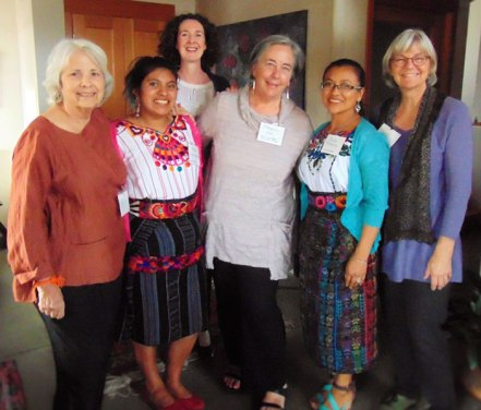 (L to R): Thrums Books publisher and supporter Linda Ligon, artisan Yessika Calgua Morales, development director Cheryl Conway, founder of the Guatemalan Rug Hooking Project Mary Anne Wise, Multicolores president Reyna Pretantizin, Cultural Cloth co-owner Jody Slocum.