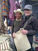 """Marilyn Murphy with the """"maguey man""""at the Chichi market in Guatemala."""