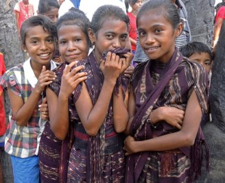 Young girls in traditional sarongs from Jontona in Lembata.
