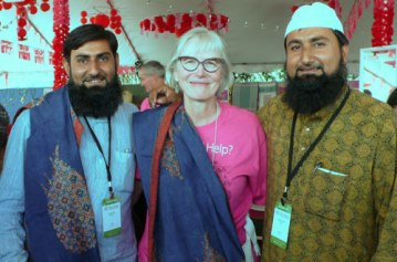 ClothRoads partner, Marilyn Murphy, with Juned Khatri (left) and his brother Sufiyan Khatri.