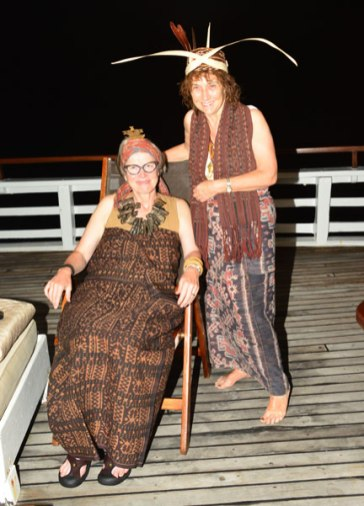 Me (seated) and Sue Richardson wearing some of our woven wealth.