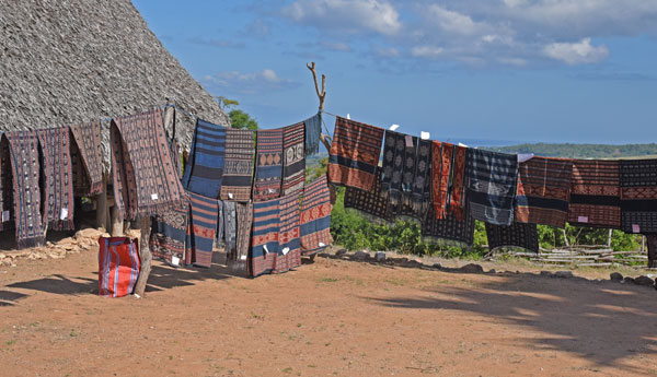 Textiles await us in the Pedaro village on Sabu island.