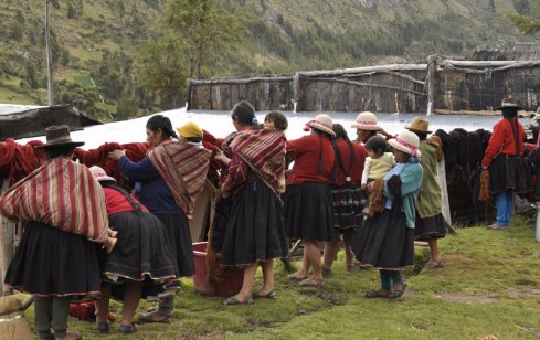 Babies carried on their mother's backs during a dye day in Acopia, Peru.