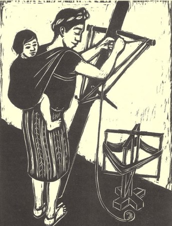 Maya mother making a warp. From Guardians of the Arts.