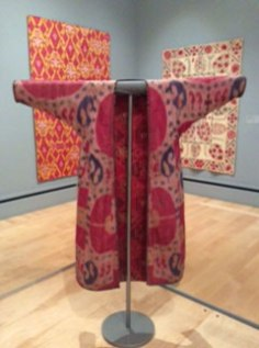 A quilted, space-dyed and woven (ikat) robe (chapan or khalat); Bukhara, Uzbekistan; c.1900.